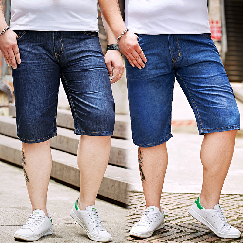 Men's Fat Lard-bucket Plus-sized Denim Shorts Large Size Thin Loose Casual Men'S Wear Short Denim Shorts