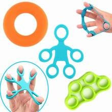 3 pçs silicone dedo pinça conjunto faixas de resistência aperto mão força trainer para extensor exercício recuperação crossfit fitness