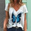 Vintage Woman Tshirts Plus Size Women Short Sleeve Shirt Women Butterfly Printed V-Neck Tops Tee T-Shirt Graphic T Shirts Plus
