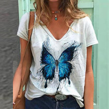 Vintage Woman Tshirts Plus Size Women Short Sleeve Shirt Women Butterfly Printed V-Neck Tops Tee T-Shirt Graphic T Shirts Plus