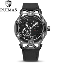Ruimas  Fashion Black Mens Dress Designer Luxury Military Luminous Watches Leather Classic Wrist Watch For Men