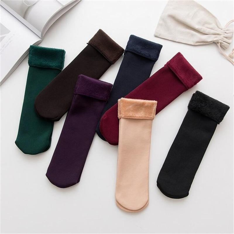 Winter Women Socks Soild 7 Color Plus Velvet Keep Warm Snow Socks High Quality Stretch Non-slip Calcetines Mujer