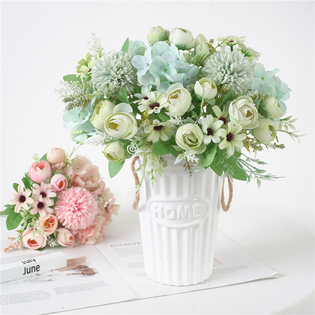 Bonito artificial seda falso flores do casamento dos namorados buquê de decoração de noiva para a decoração de mesa de casa flores falsas hydrangea 930