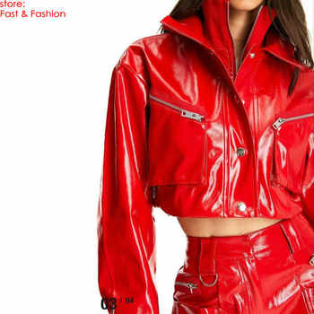 2019 New Fashion Women Sex High Street Faux Leather Jackets Lady Autumn Winter Motorcycle PU Red Loose Oversize Coats Outerwear - Category 🛒 Women\'s Clothing