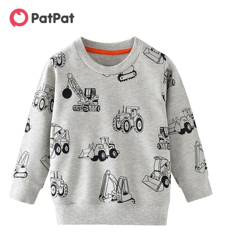 PatPat/Новинка 2020 года; Сезон весна осень; Модный свитер с длинными рукавами и рисунком машины для детей; Футболка с длинными рукавами для мальчиков; Одежда|Футболки| | АлиЭкспресс