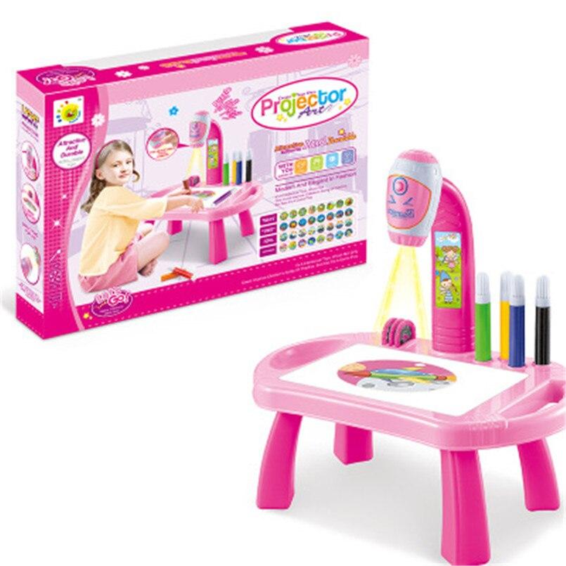 Crianças led projetor arte desenho mesa brinquedos crianças pintura placa mesa artes e ofícios projeção brinquedo de aprendizagem educacional