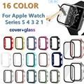 All-around caso capa completa escudo + temperado flim protetor de tela de vidro para apple assistir série 5 4 3 2 1 para iwatch 38/42/40/44mm
