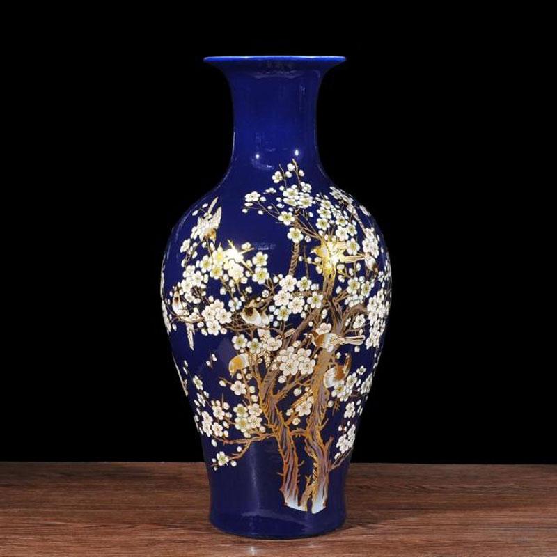 Royal Blue Flower Vase Plum Blossom