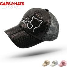 Летние изображение кота из блесток из бейсболка детская мужские и женские бейсбольные кепки животных Snapback Шапки розовый Кепки девочек петтен из тонкого прозрачного материала шляпы в соответствии с пожеланиями F848