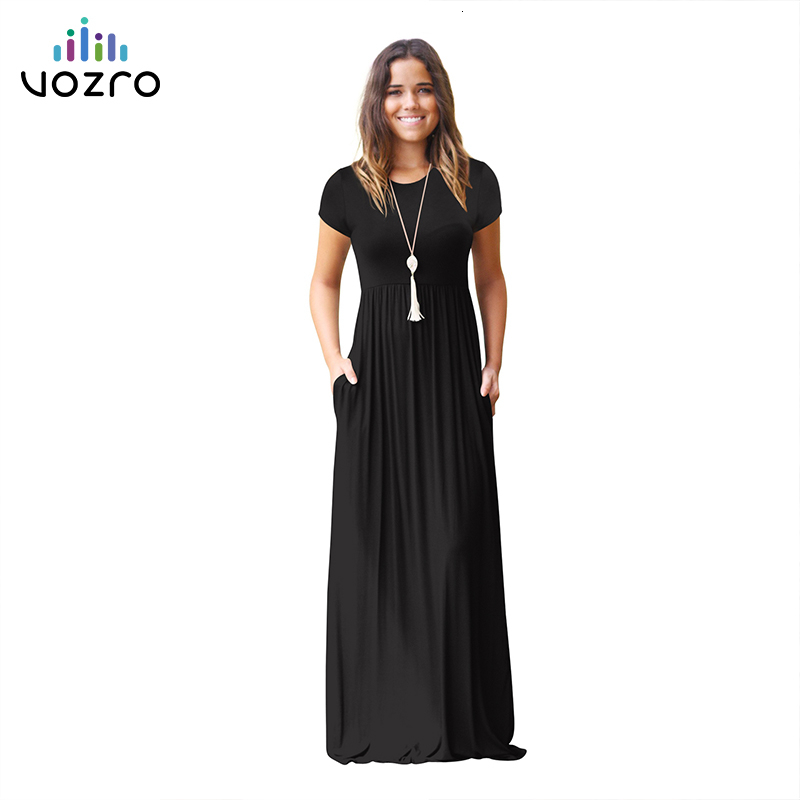 VOZRO Suit-dress Longuette Short Sleeve Solid Color Pocket Round Neck Will Pendulum Sexy Winter Maxi Dress Women Vestido Dresses