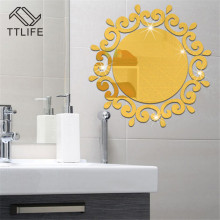 TTLIFE 3D Stereo Removable Acrylic Mirror Wall Stickers Home Background Decoration Accessories Decals