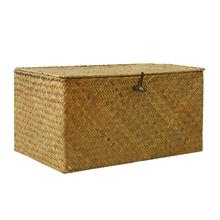 Seaweed Hand-Woven Straw Clothes Storage Basket Makeup Organizer Storage Box Seagrass Laundry Baskets Rattan Box with Lid storage baskets containers natural water hyacinth rectangular storage bins organizer box metal frame woven straw baskets panier