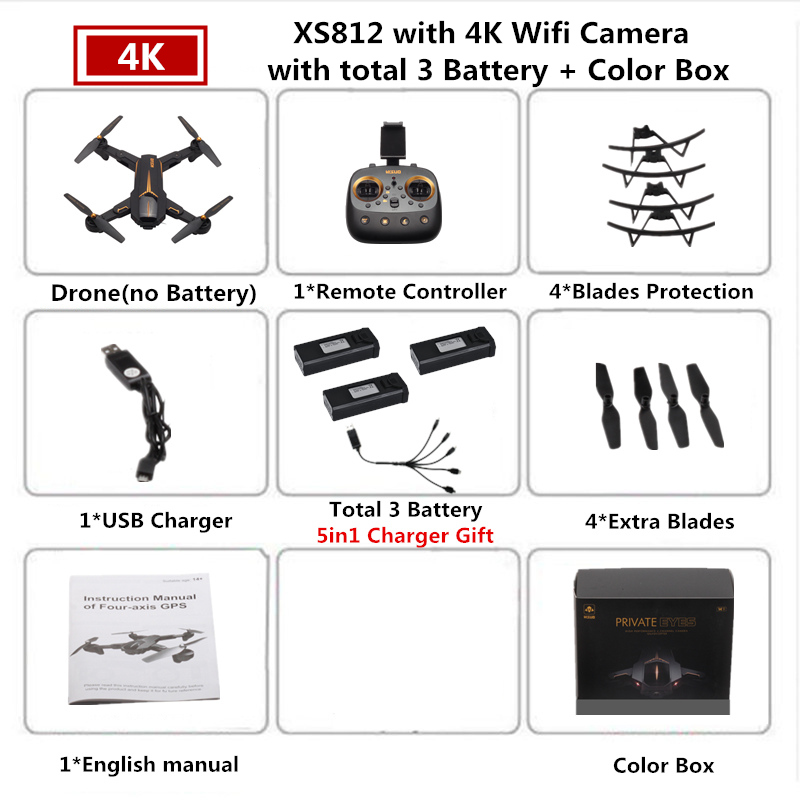 VISUO XS812 GPS Drone with 4K Camera 5G FPV RC Helicopter Altitude Hold Quadcopter Follow Me Quadrocopter VS SJRC Z5 F11 Dron