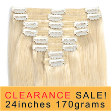 Human-Hair-Extensions Remy-Hair Clip Ins Straight Brown 24inch Black-Color 60 Blonde
