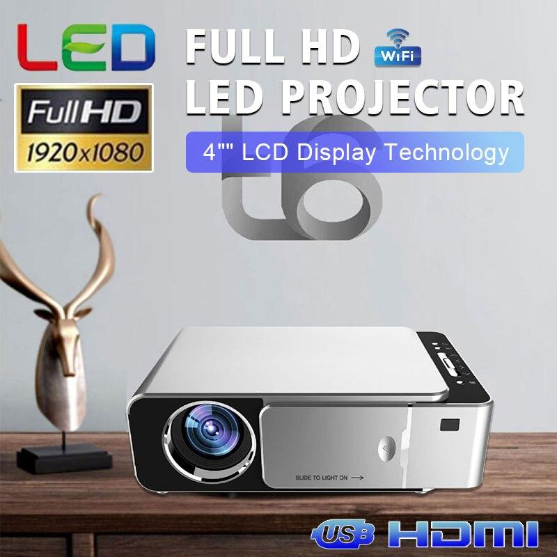T6 светодиодный 4K Full HD проектор HDMI USB SD Мини ЖК домашний кинотеатр медиаплеер портативная Поддержка Android Wifi такой же экран proyector