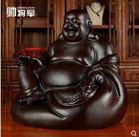 Maitreya Buddha's Statue for Money Sitting and laughing Buddha with solid wood belly Black sandalwood carved Decorative Ornament