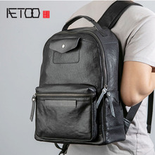 AETOO Men #8217 s leather shoulder bags fashion fashion backpacks casual cowhide travel bags minimalist bags cheap Genuine Leather Cow Leather Embossing Softback Interior Compartment Cell Phone Pocket Soft Handle NONE zipper Solid Bag