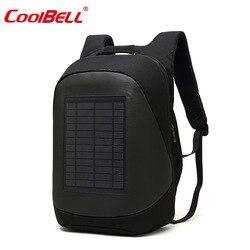 Torba na laptopa plecak z funkcją ładowania słonecznego duża torba na ipada plecaki biznesowe USB plecak podróżny plecak przeciw kradzieży męski Mochila