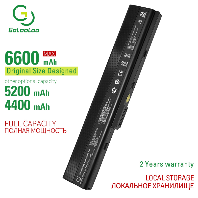 Golooloo 6 cells laptop battery for Asus A52 A52F A52J A52JB A52JK A52JR A52JR-X1 K42 K42F K42F-A2B K42JB K42JK K42JR image