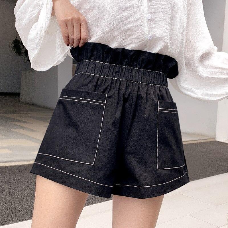 2020 New Casual High Waist Loose Loose Slim Waist Wide Leg Shorts Women