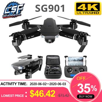 Drone SG901 4K profesjonalny składany Drone kamerą HD 1080P WiFi fpv dron zdalnie sterowany lot 20 minut Quadcopter zabawkowy dron tanie i dobre opinie CEVENNESFE Z tworzywa sztucznego About 120m 32*23*7 5cm Mode2 30day Silnik szczotki 3 7v SG901S 6 kanałów Oryginalne pudełko