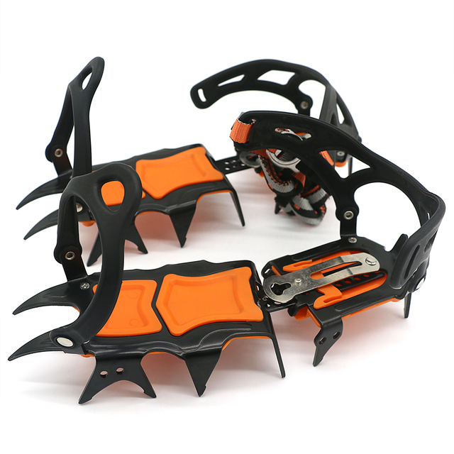 12 Teeth Crampons Manganese Steel Climbing Gear Snow Ice Anti Skid Climbing Shoe Grippers Mountaineering Crampon Traction Device