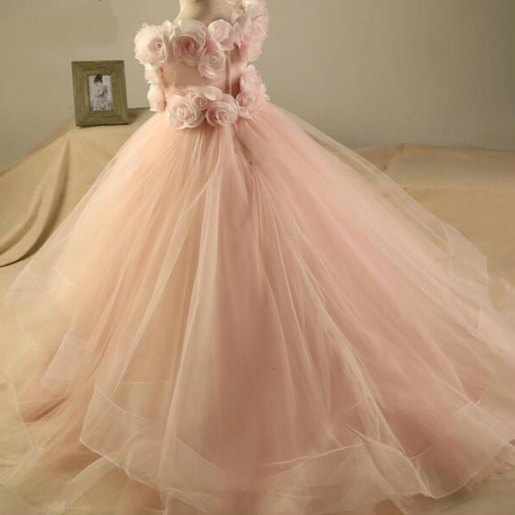 Wholesale Luxury Light Pink Party Girl Flower Baby Dress Kids Evening Elegant Tulle Dresses For Girls Gown