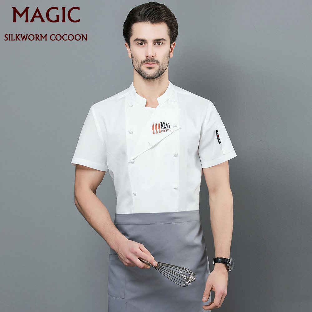 Kitchen Unisex For Chef Restaurant Uniform Breathable Shirt Service Bakery Breathable Short Sleeve Gray Chef Dress Chef Jackets