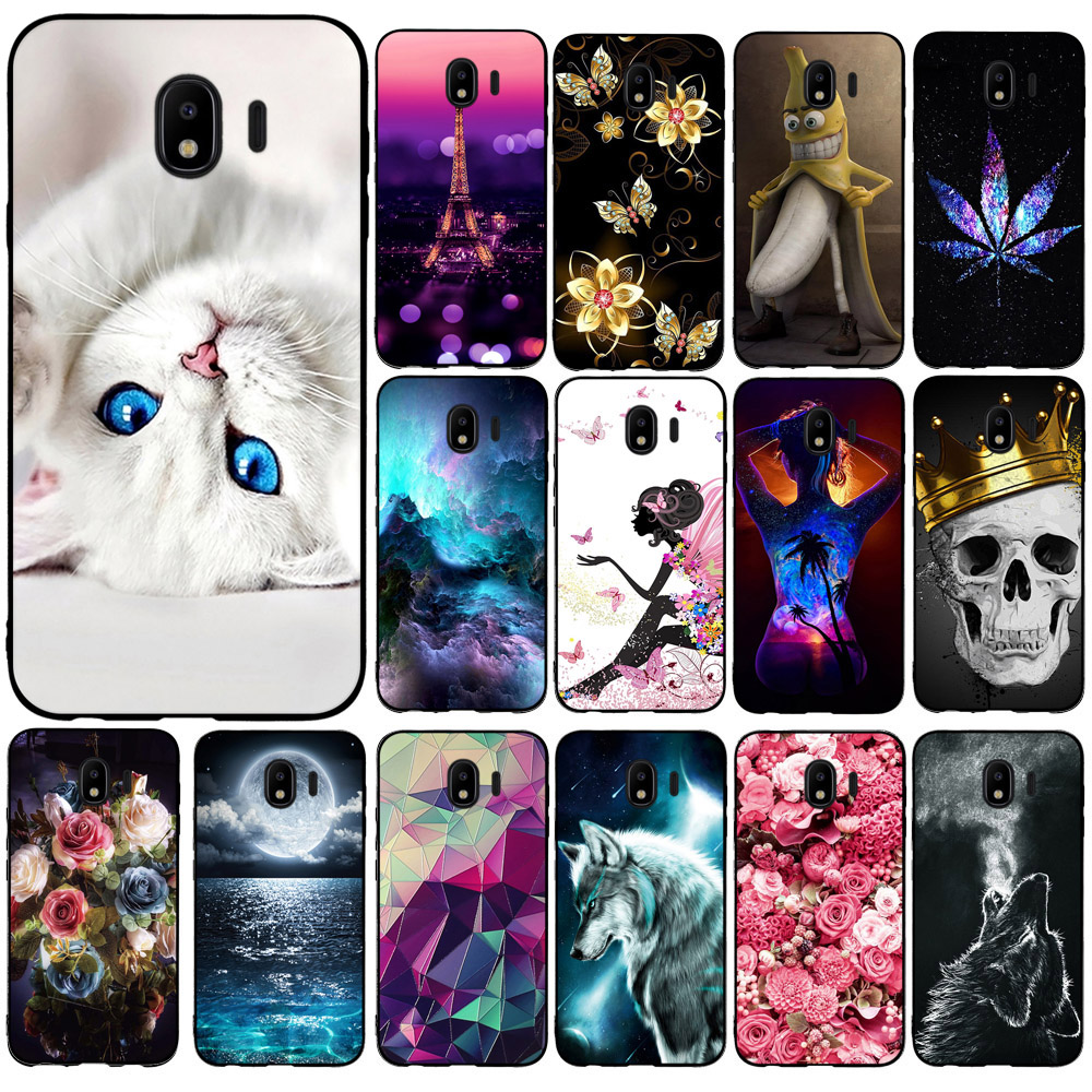 "Phone Capa For Samsung Galaxy J4 2018 Case Soft TPU Cover For Samsung Galaxy J4 J400 Cute Coque Housing Back 5.5"" Shell Bumper"