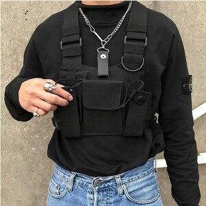 Functional Tactical Chest Bag For Men Fashion Bullet Hip Hop Vest Streetwear Bag Waist Pack Unisex Black Chest Rig Bag HW 989
