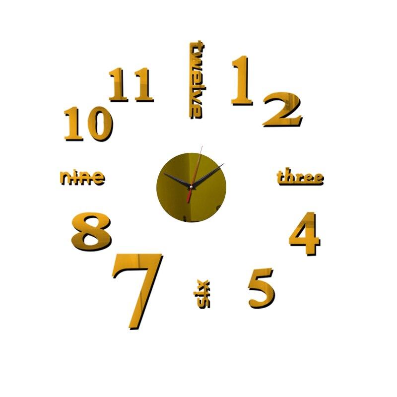 3D Wall Clock Acrylic Mirror Wall Stickers Modern DIY Wall Clocks Home Decor Living Room Quartz Needle reloj de pared 2020 NEW 9