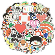 50 Pcs Pixel Stickers Video Game Themed Retro Vinyl Decals for Kids Toy Laptop Suitcase Car Skateboard Water Bottle Sticker Pack