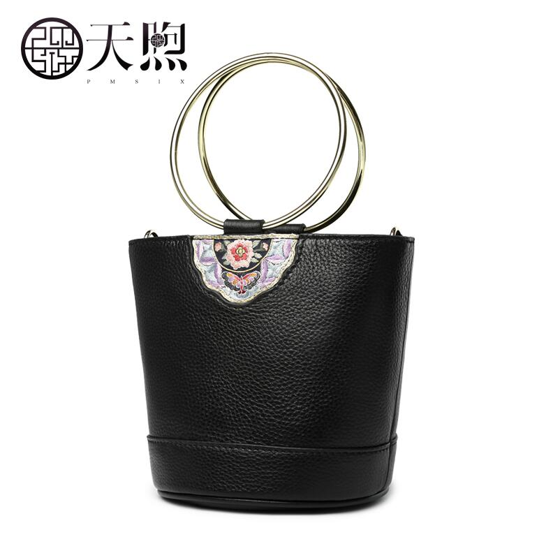 Pmsix new Chinese style Mini bucket bag original fashion leather embroidery beads handbag shoulder bag Cowhide leather lady bag