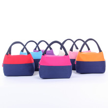 Fashion New Color Matching Lunch Bag Thick Canvas Portable Box Picnic Outdoor Meal Lce Mummy