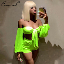 Simenual Sexy Mesh Fashion Women 2 Piece Set Wrap Chest Neon Bow-Knot Hollow Out Outfits Long Sleeve Crop Top And Shorts Sets цена