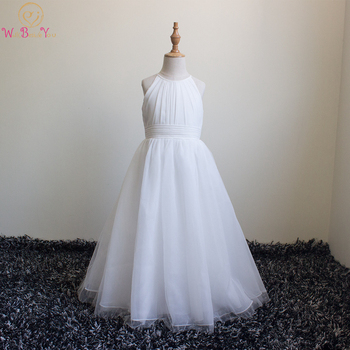 Walk Beside You Flower Girl Dresses for Weddings Off-white Halter O-neck A Line Tulle Pleats Floor Length comunion Party Gowns 2015 elegant a line and knee length flower girl dresses for weddings layered and unique handmade flower design