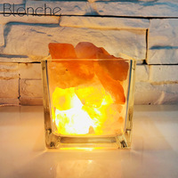 Blonche USB Crystal Lava Lamp Himalayan Natural Salt Lamp for Home Decor Table Light Bedroom Bedside Led Square Glass Fixtures