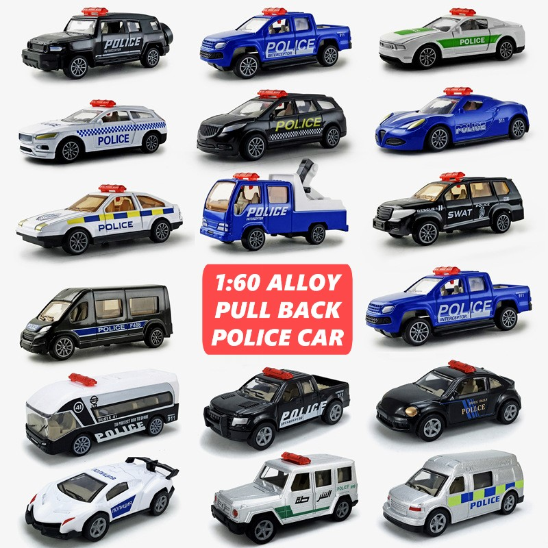 6 Pieces Set 1:60 Alloy Pull Back Police Rescue Toy Car Model Racing Sports Supercar SWAT Simulation Model Toy Car For Boys