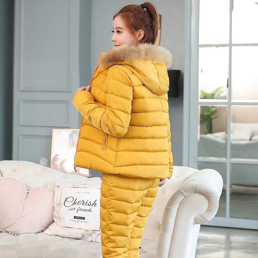 2019 Fashion Winter Women Warm Snow Set Hooded Parka Coat+Pant Tracksuit Two Piece Set Female Down Cotton Jacket Suit For Women