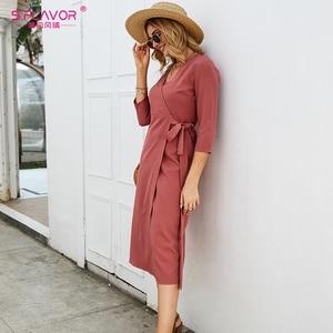 Image 5 - S. טעם נשים סתיו עיפרון שמלה אלגנטית Slim V צוואר תה לשבור Midi שמלה אדום צבע חורף עבודה שמלת עבור משרד ליידי
