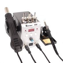 Estação de solda 2 em 1, 8586 760w 220v 2 em 1 pistola de ar quente ferro de solda smd bga retrabalho dessoldamento soldagem ferramentas de reparo