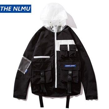 Mens Cargo Jackets Coats Streetwear Patchwork Jacket Windbreakers Harajuku Autumn 2019 Fashion Coat Pocket Male  HZ450