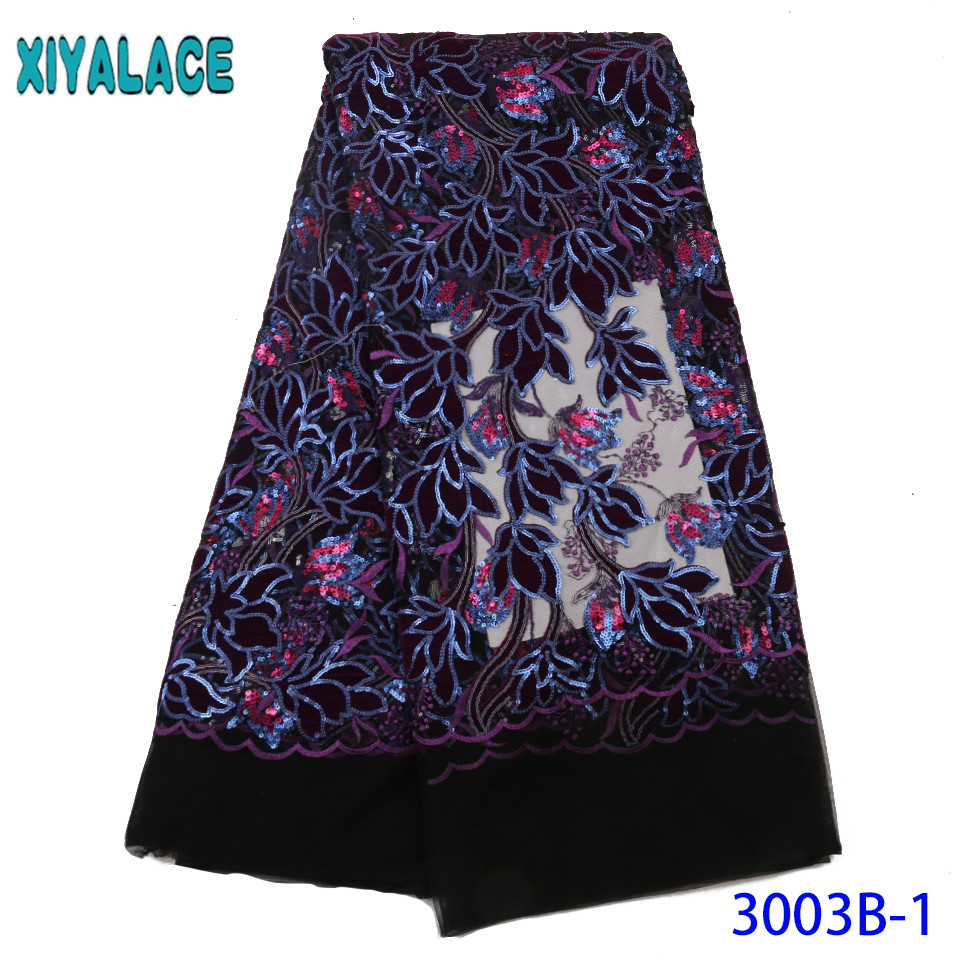Purple Lace Fabric African Lace Fabric 2019 High Quality Lace Nigerian Net Laces Velvet Fabric Lace With Sequins KS3003B