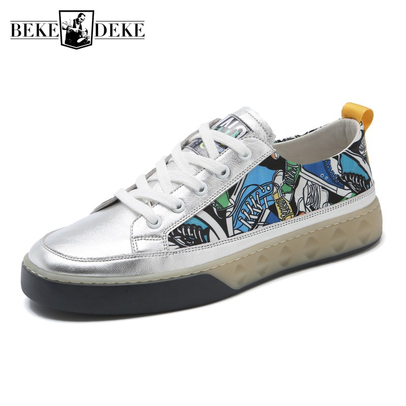 Luxury Brand Canvas Shoes Men Summer New Genuine Leather Mixed Colors Graffiti Sneakers 2019 Street Casual