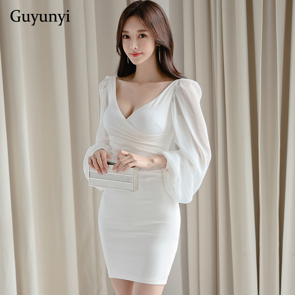 White Elegant Office Dress 2020 Spring High Waist Skinny Small Sexy V-Neck Chiffon Bubble Sleeve Mini Party Dress Women