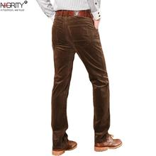 NIGRITY zimowe grube męskie spodnie średnio wysoka talia luźne spodnie elastyczne spodnie sztruksowe długie proste business casual spodnie 6 kolorów