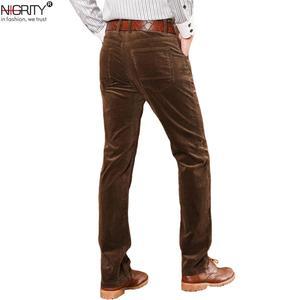 Image 1 - NIGRITY החורף עבה גברים מכנסיים אמצע המותניים רופפים אלסטי קורדרוי מכנסיים ארוכים ישר עסקי מכנסי קזואל 6 צבעים