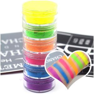 6 цветов, Смешанная неоновая пудра, тени для век, матовые минеральные блестки, пудра для ногтей, блестящие тени для век, палитра, набор инстру...