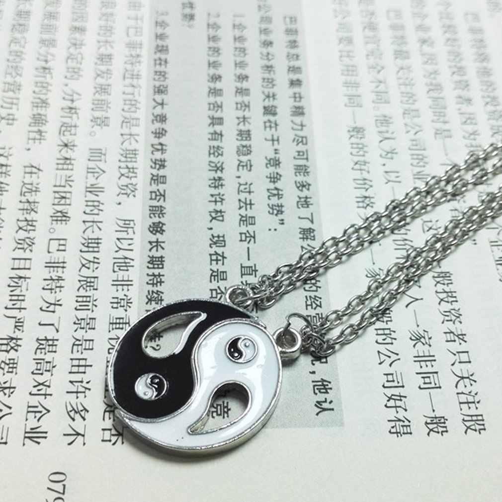 BEST Friends สร้อยคอ Yin Yang Tai Chi Gossip เย็บชุดสีดำสีขาวคู่คู่สร้อยคอสร้อยคอผู้ชาย GiftNice