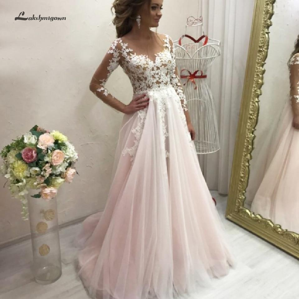 Vestido De Novia A Line Wedding Dress Long Sleeve 2020 Blush Pink Sexy Lace Bodice Bridal Dress Sweep Train New Mariage